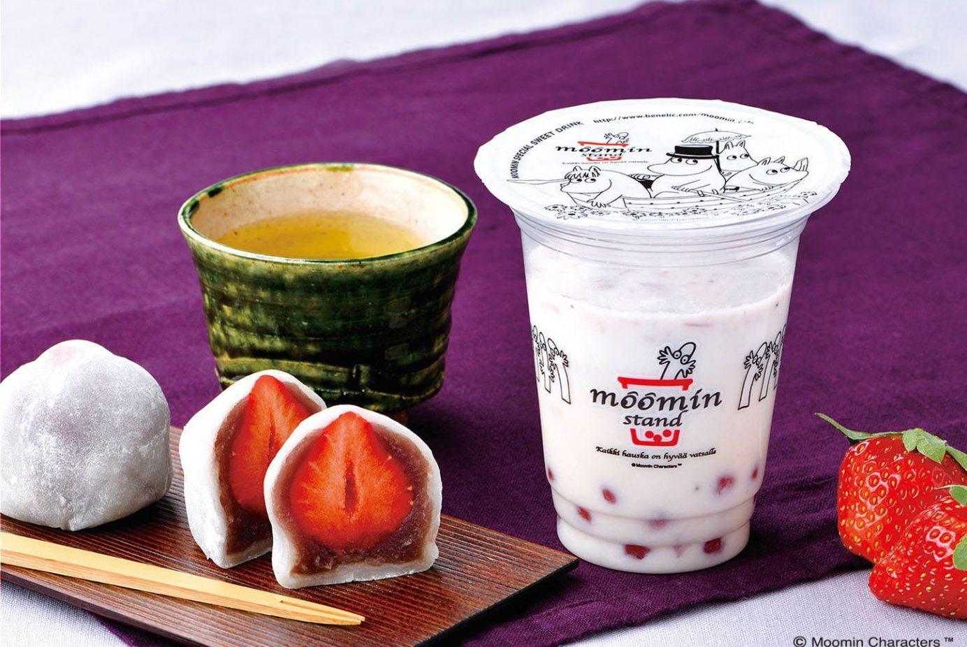 【草莓鮮奶新口味】東京淺草「Moomin stand」新開幕,期間限定大福Q彈珍珠你喝過了嗎?